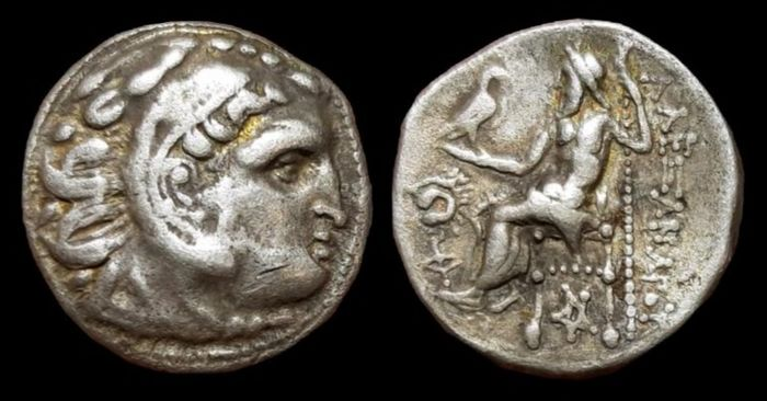 Grecia (antica) - Kings of Thrace, Macedonian. Lysimachos. AR Drachm. In the name of Alexander III, the Great (336-323 BC). Lampsakos mint - Price 1836 - Argento