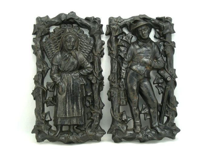 2 Plates with Figures: Woman with Basket and Miner - Victorian - Iron (cast) - 19th century