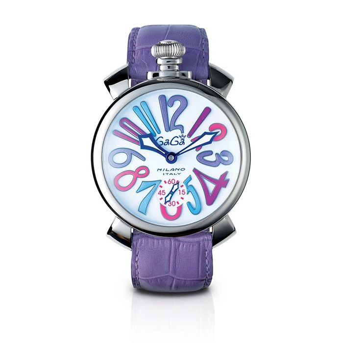 GaGà Milano - Manuale 48MM Mosaico with Lilac Leather Strap Swiss Made - 5010.09S - Unisex - Brand New