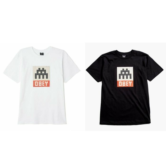 Shepard Fairey (OBEY) x Invader - 2 x LA_56 T-shirts - Black and White - Size S