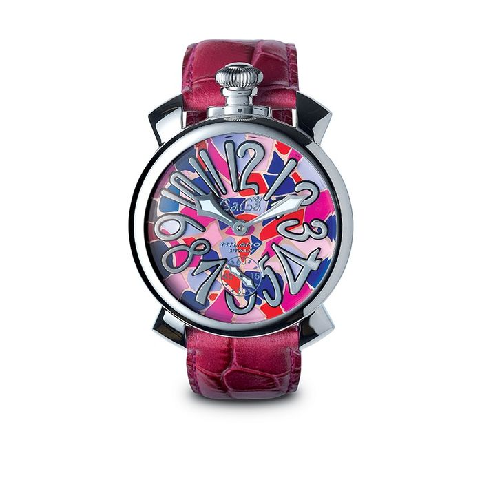 GaGà Milano - Mechanical Manuale 48MM Mosaico Steel Leather Strap Swiss Made - 5010.MOS.02S - Unisexe - Brand New