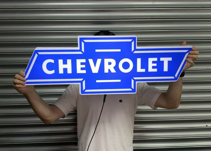 Segnaletica - Chevrolet - Large Chevrolet Wall Sign Advertising Garage Display Car Dealership Art - 2010-2015