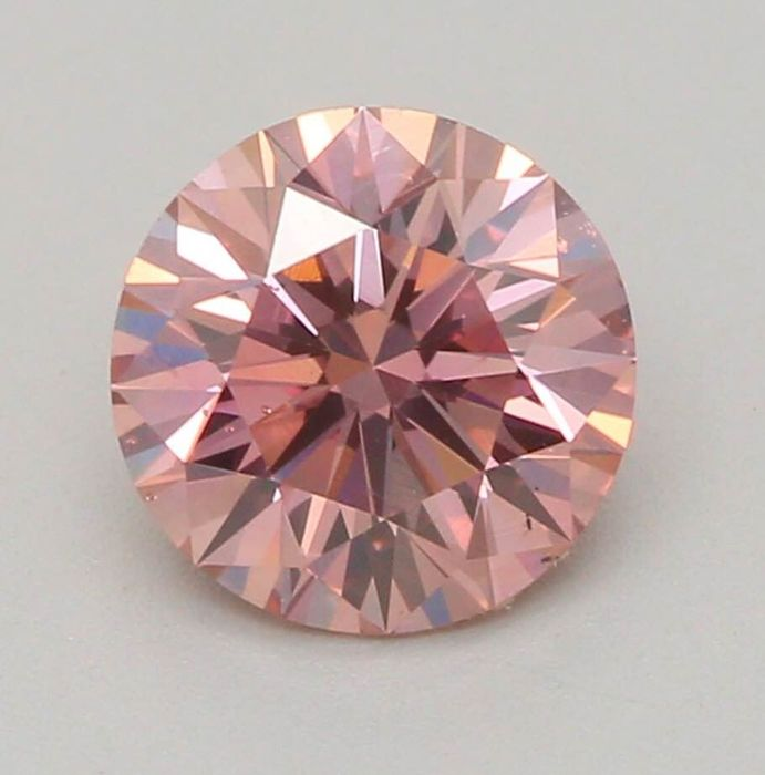 Diamant - 0.60 ct - Rond - fancy brownish orangy pink - SI1