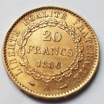 20 Francs 1886-A Genius - Or
