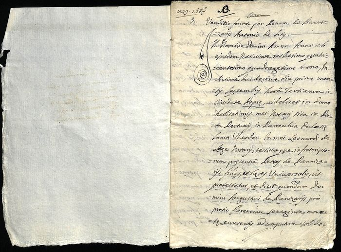 Notary Pietro Panizzari  - Manuscript: Transcription on a Sale Contract dated 1449, with Seal - 1787