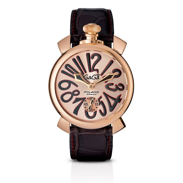 GaGà Milano - Mechanical Manuale 48MM Brown Rose Gold Brown Leather strap Swiss Made - 5011.11S - Heren - Brand New