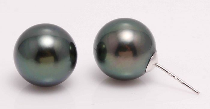 18 kt. White Gold - 11x12mm Peacock Tahitian Pearls - Earrings