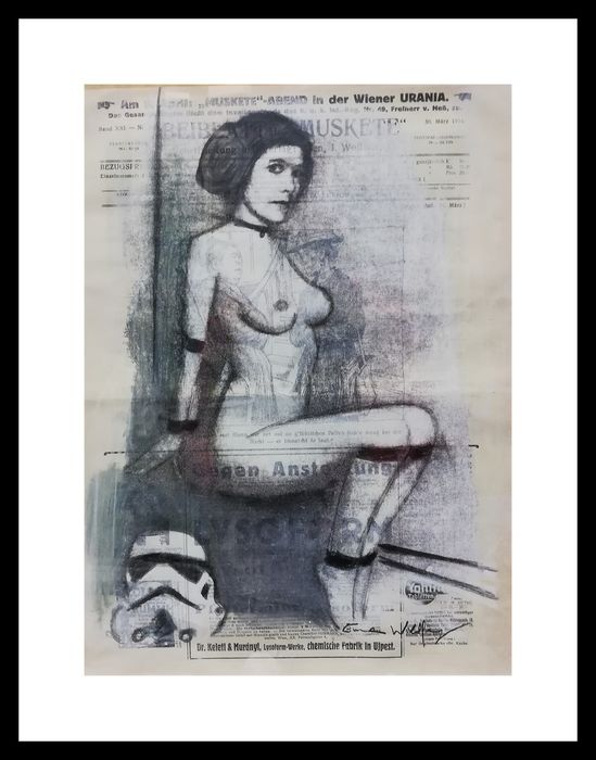 Wildfang, Emma - Sketch with chalk and pencil on a newspaper from 1916 - LEIA - Obra de arte - (2019)