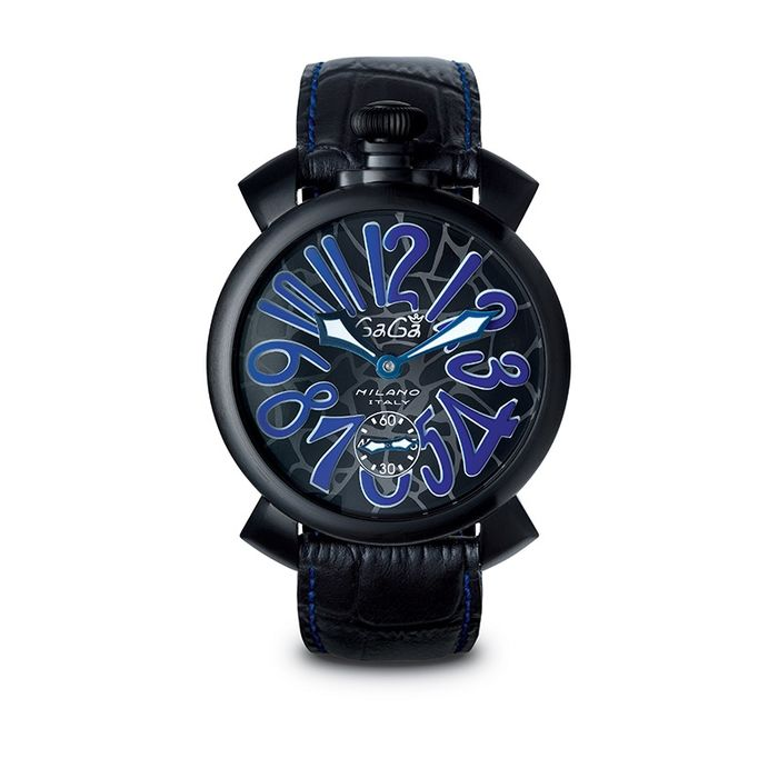 GaGà Milano - Mechanical Manuale 48MM Blue Mosaico Black PVD Swiss Made - 5012.MOS.02S - Unisexe - Brand New
