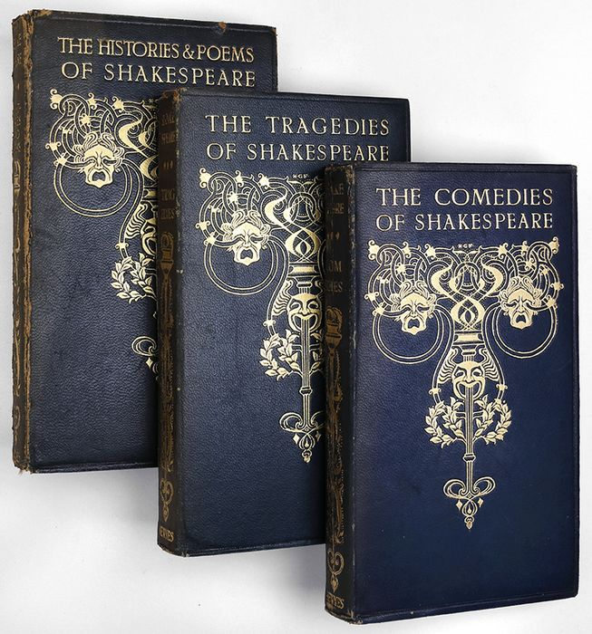 William Shakespeare / Edmund J. Sullivan - Complete 3-vol. pocket edition of Shakespeare's plays & poems - Leather bindings - 1901