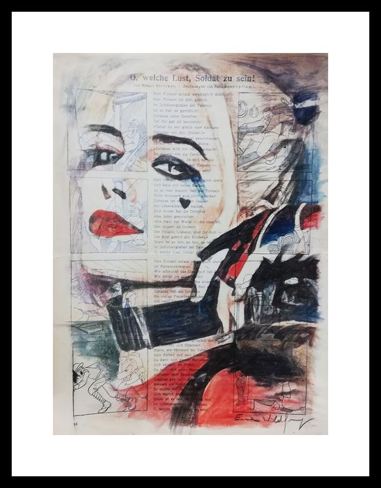Wildfang, Emma - Chalk, Pastel,Watercolors  on a newspaper from 1916 - HARLEY QUINN - artwork - (2019)