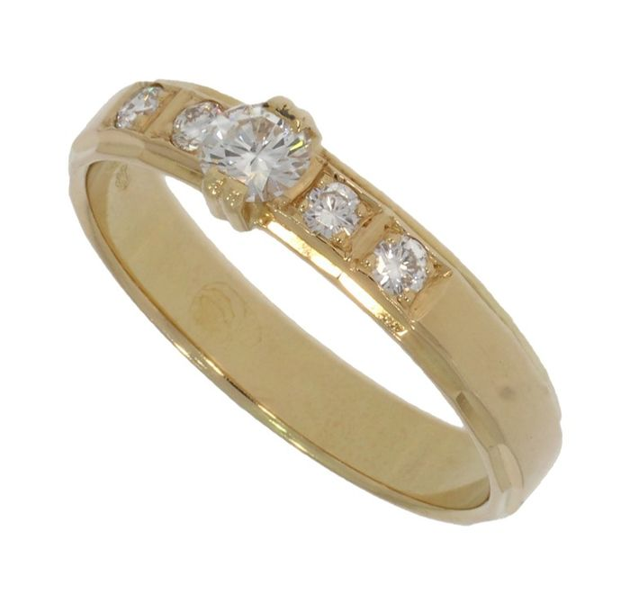 14 quilates Oro amarillo - Anillo - 0.29 ct Diamante