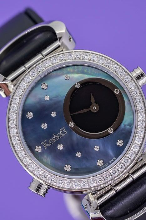 Korloff - Reversible Diamonds for 1,14 Carat Cassiope Collection  White/ Blue Mother Of Pearl dials Swiss Made - LR3B/4D - Mujer - Brand New