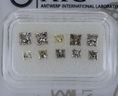 10 pcs Diamante - 1.67 ct - Princesa - mix light colors - SI1, SI2, No Reserve Price!
