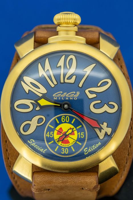 GaGà Milano - Mechanical Manuale 48MM Miami SPECIAL EDITION Gold and Blue with Brown Leather strap - 5114 - Heren - Brand New