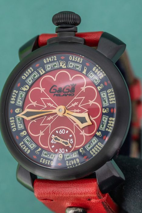 GaGà Milano - Las Vegas Manuale 48MM LIMITED EDITION Black PVD Red Leather Strap - 5012.LV.02.S - Herren - Brand New