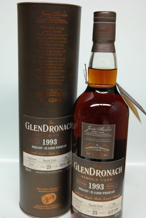 Glendronach 1993 25 years old Single Cask Sherry Butt - 25 jahre of whisky.de - Original bottling - 70cl