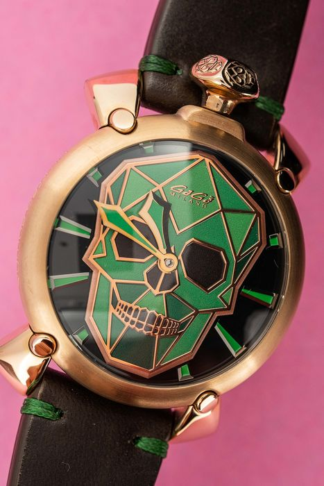 GaGà Milano - Mechanical Manuale Bionic Skull 48MM Rose Gold plated Green  LIMITED EDITION - 5061.02S - Men - BRAND NEW