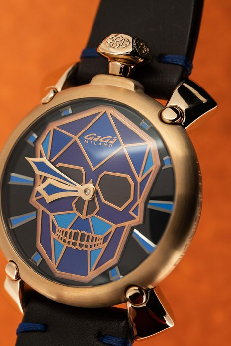 GaGà Milano - Mechanical Manuale Bionic Skull 48MM Rose Gold Tone Blue and Purple LIMITED EDITION - 5061.01S - Men - BRAND NEW