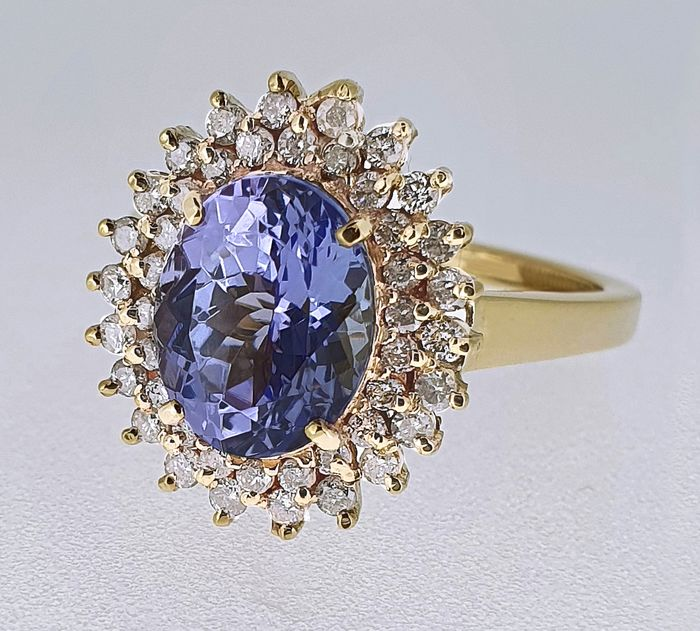 18 carats Or - Bague - 3.19 ct Tanzanite - Diamants, - Pas de réserve...