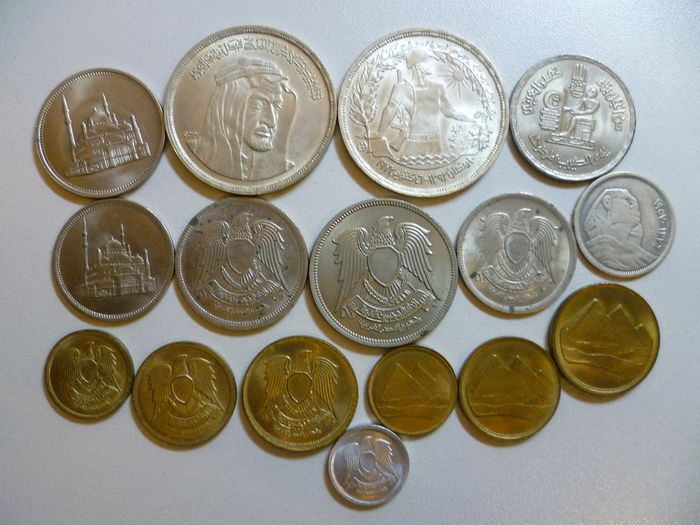 Égypte - Lot various coins (16 pieces) with silver