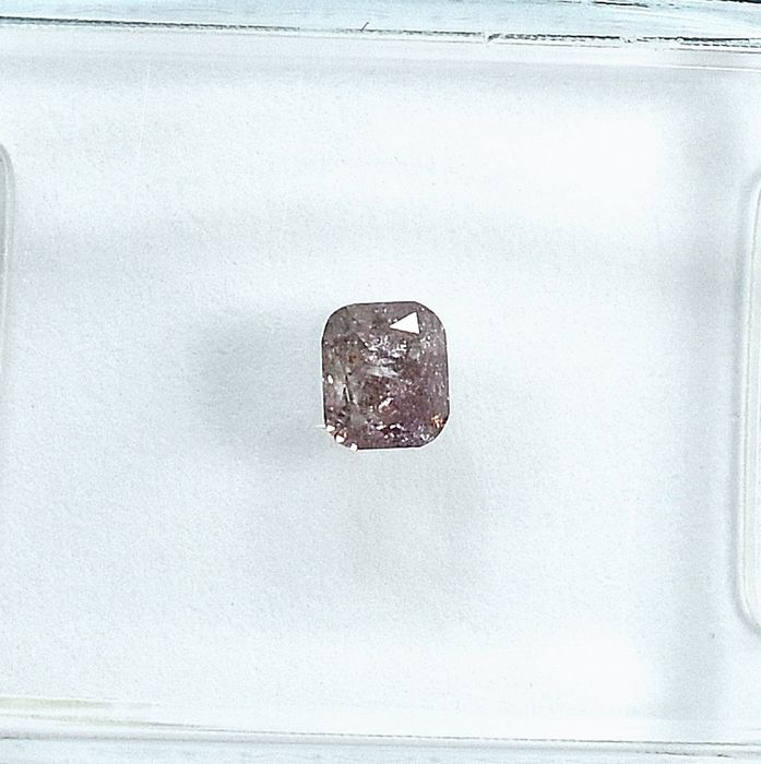 Diamond - 0.20 ct - poduszkowy - Natural Fancy Purplish Pink - I2 - NO RESERVE PRICE