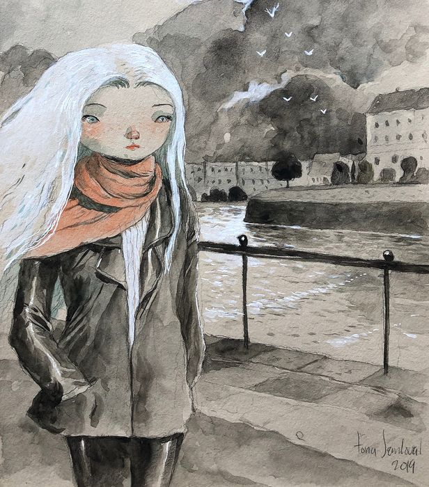 Sandoval, Tony  - Dessin original couleur - Girl in Paris - (2019)