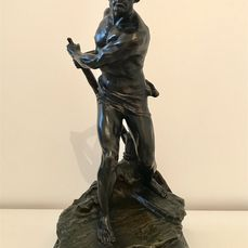 Georges Colin (1876-1917) - Sculpture, Supreme Effort The Paddler - Bronze (patinated) - Early 20th century
