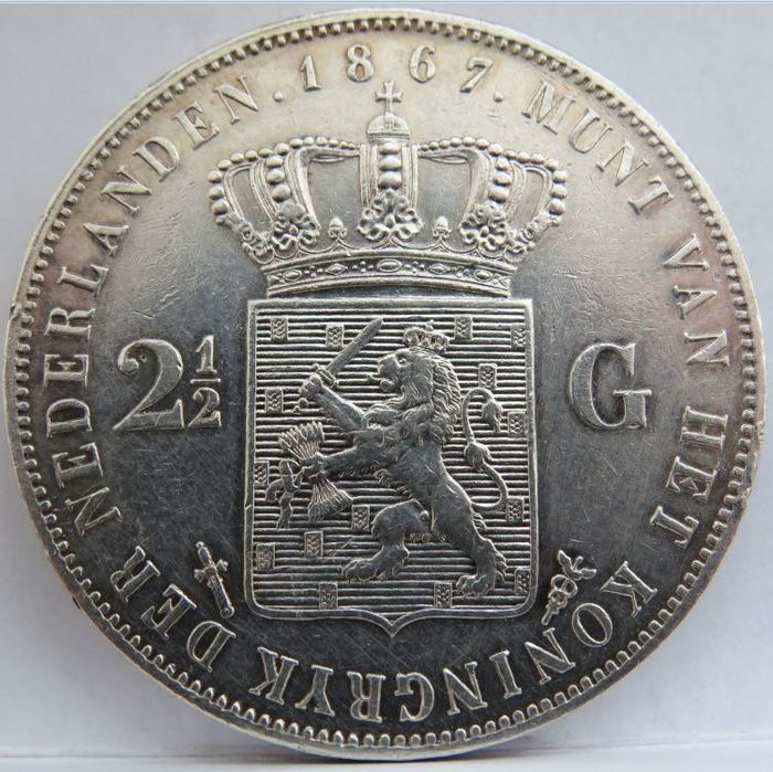 The Netherlands - 2 1/2 Gulden 1867 Willem lll - Silver