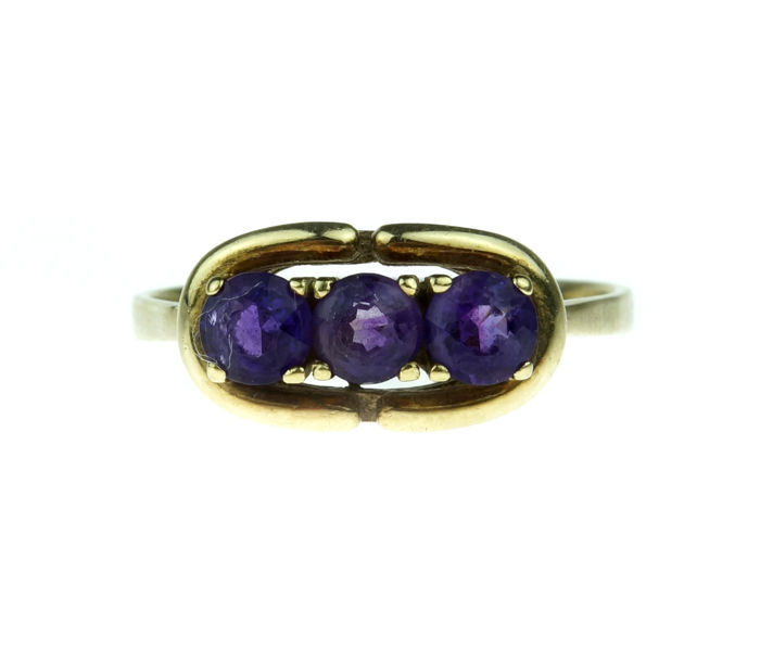 Vintage - 14 kt. Yellow gold - Ring Amethyst