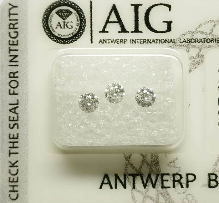 3 pcs Diamants - 0.55 ct - Brillant - E-G - SI2-I1