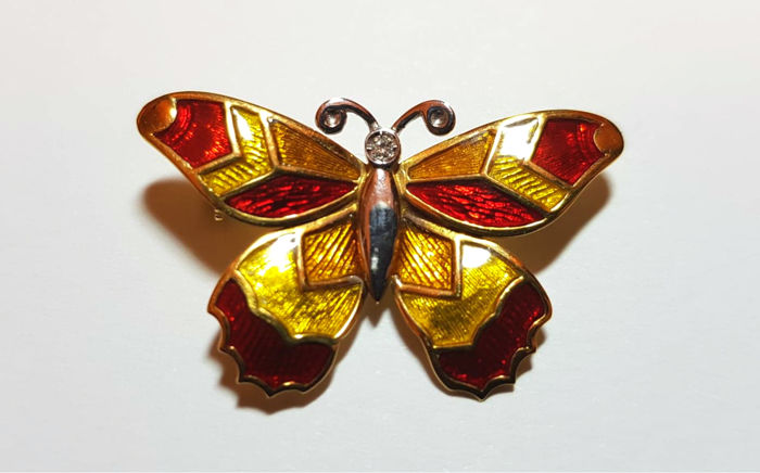 Recarlo, Made in Italy - Oro 18k Yellow gold, White gold, Red and yellow Glaze - Brooch - 0.05 ct Diamond