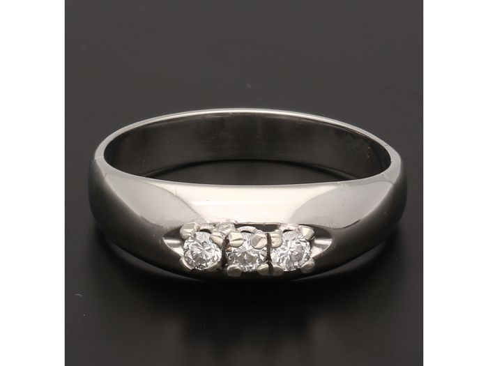 14 karaat Witgoud - Ring - 0.15 ct Diamant