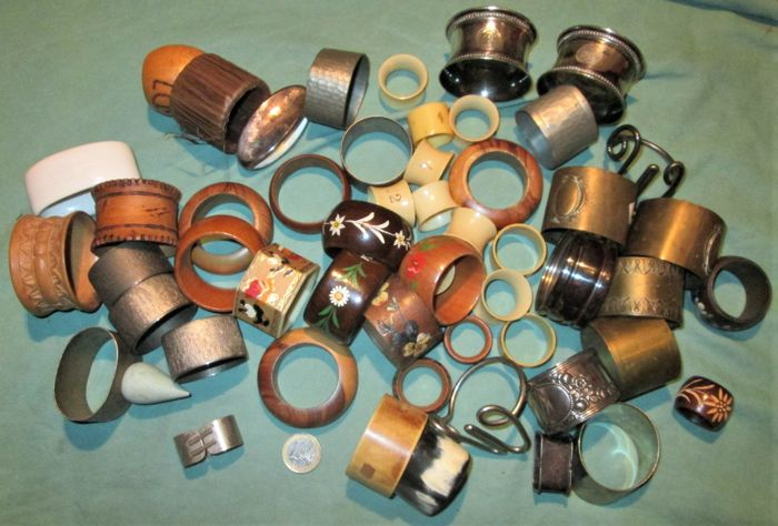 56 napkin rings - multiple types of material