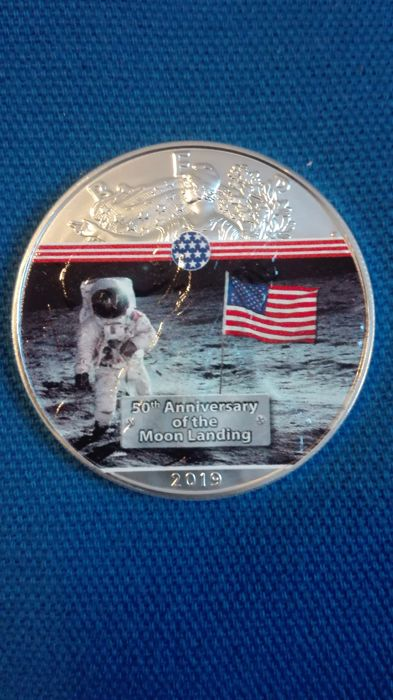 Verenigde Staten - 1 Dollar 2019 - Liberty Silver Eagle commemorativa 50° Apollo 11 - 1 Oz - Zilver