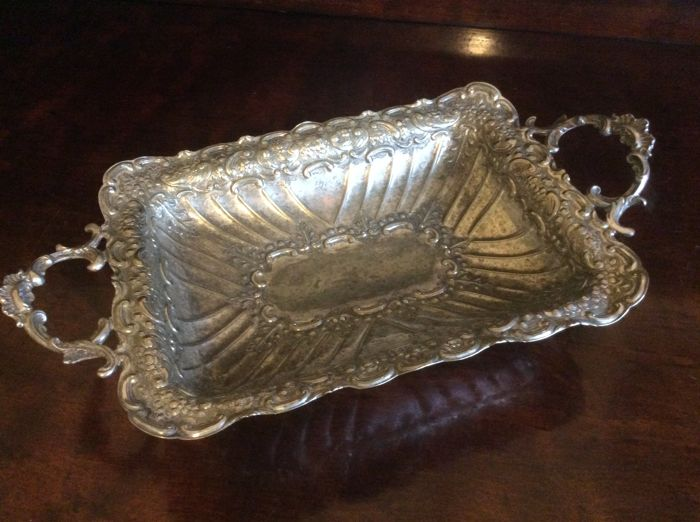 Highly decorated rectangular shaped bread/fruit  - Silverplate - U.K. - 1850-1874