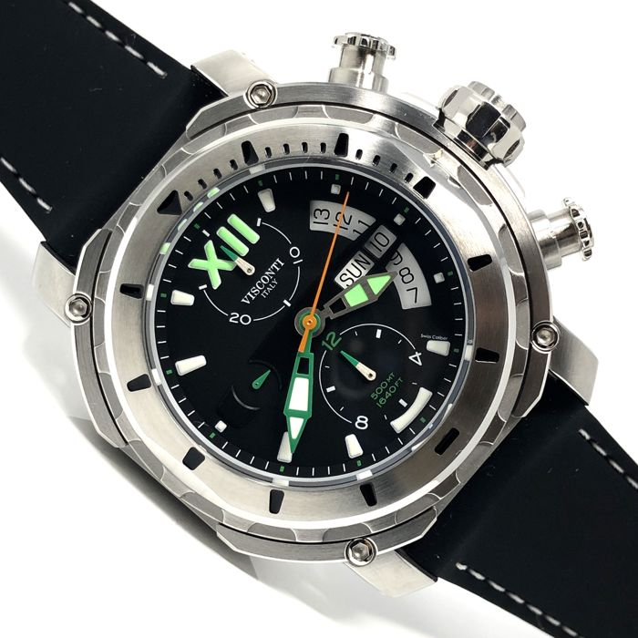 Visconti - Full Dive 500 Steel Green Tone - Rubber Strap - KW51-04-Rubber - Homme - NEW