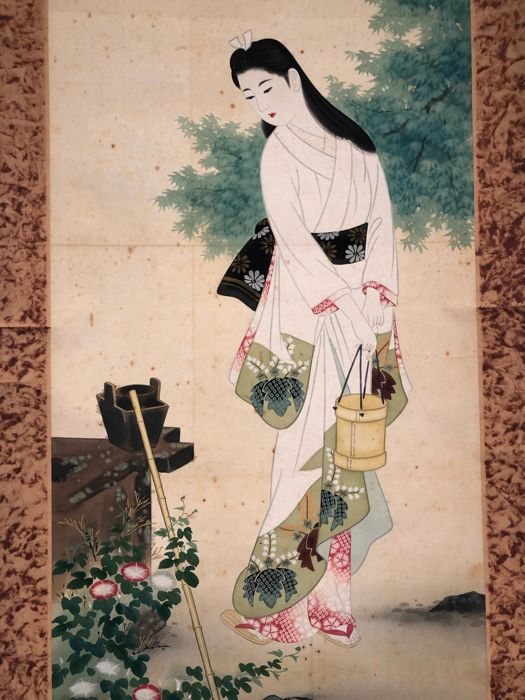 Hengende rulle - Kimono girl gazing at flowers - Japan - Sent på 1900-tallet