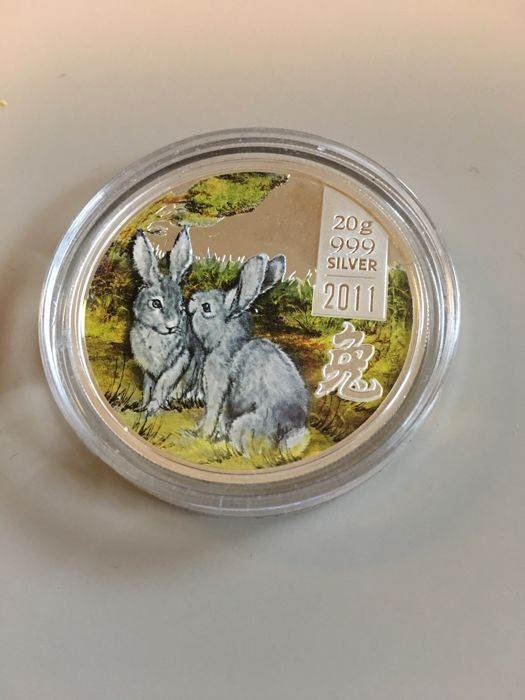 Cook Islands - 2 Dollar 2011 - Year of the Rabbit - Colorized - Silver