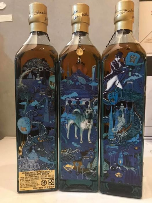 Johnnie Walker  Blue Label Year of the Dog Collection - Taiwan Limited Edition - 750ml - 3 flessen