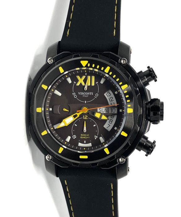 Visconti - Full Dive 500 Chrono Gun Yellow Tone Rubber Strap - KW51-05-Rubber - Άνδρες - NEW