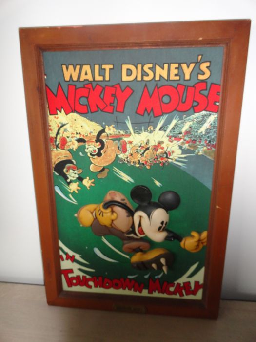 Walt Disney - Reliëf Wandbord - Mickey Mouse in 'Touchdown Mickey' - (1980)