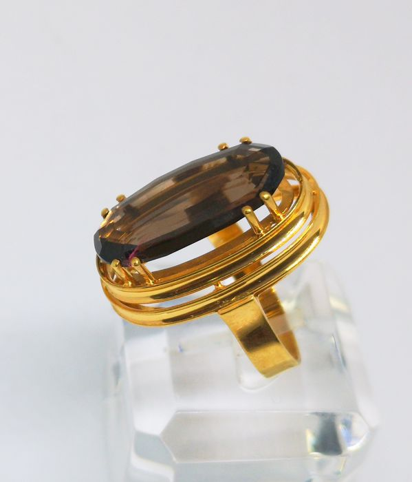18 kt. Yellow gold - Ring smoked quartz Jewellery Premium Jewellery, used for sale