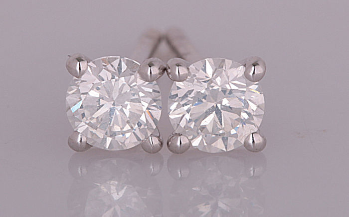 14 quilates Oro blanco - Pendientes - 0.44 ct Diamante