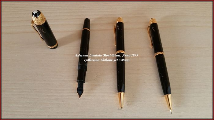 ■Mont-Blanc - TUTTE NUOVE  - MAI USATE - NE INCHIOSTRATE - Voltaire Collection - LIMITED EDITION - YEAR 1995 - Set 3 Pens: Fountain Pen - Sphere - Mechanical Pencil ■
