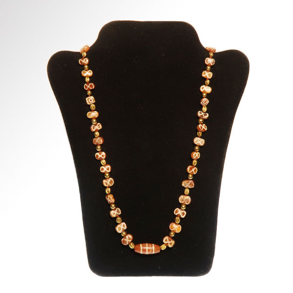 Western Asiatic   Carnelian and Gold  Necklace with Etched Beads