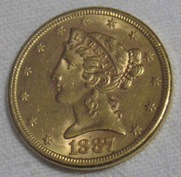 United States - 5 Dollar 1887 S Liberty Head - Gold