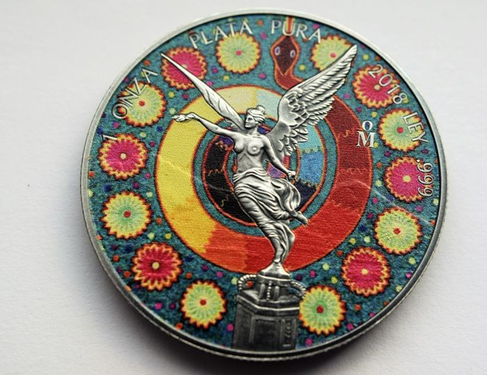 "Mexique - 1 Onza 2018 Libertad "" Huichol 3 "" Antique Finish -1 oz - Argent"