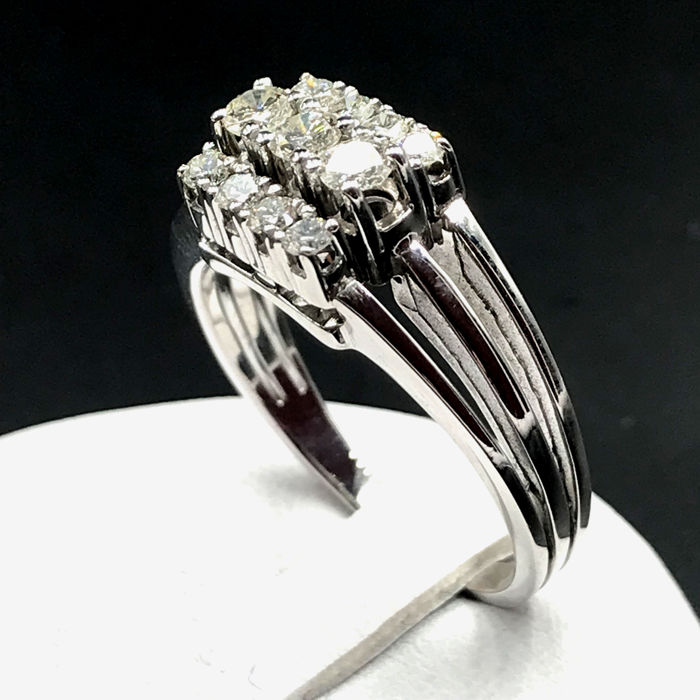 18 carats Or blanc - Bague - 0.54 ct Diamant