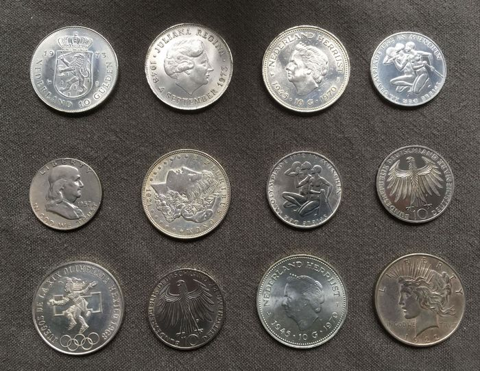 Germany, Mexico, The Netherlands, USA - 12 Coins 1921-1973 - Silver